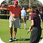 Putting greens from Putters Edge are great for golf teaching professionals, as the putting turf has consistently smooth rolls.